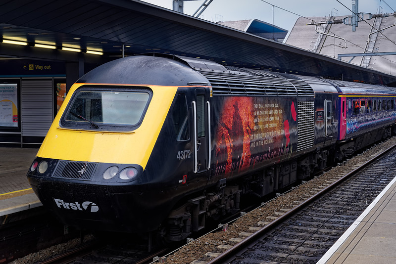 """43172 """"Harry Patch"""" stands at Reading on the rear of 1W29, the 11:22 Paddington - Great Malvern. 18th May 2019, the final day of GWR mainline HST services."""