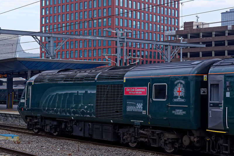 43093 departs from Reading on the rear of 1C92, the 18:03 Paddington - Plymouth.  <br /> 18th May 2019, the final day of GWR mainline HST services.