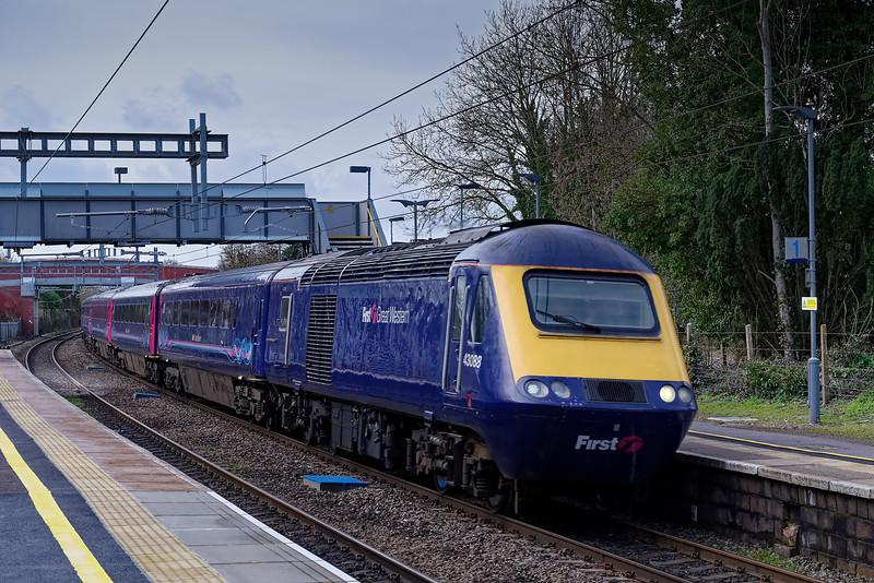 43088 leading through Aldermaston with 1A87, the 05:05 Penzance - Paddington, <br /> via Honiton. 5th March 2019.