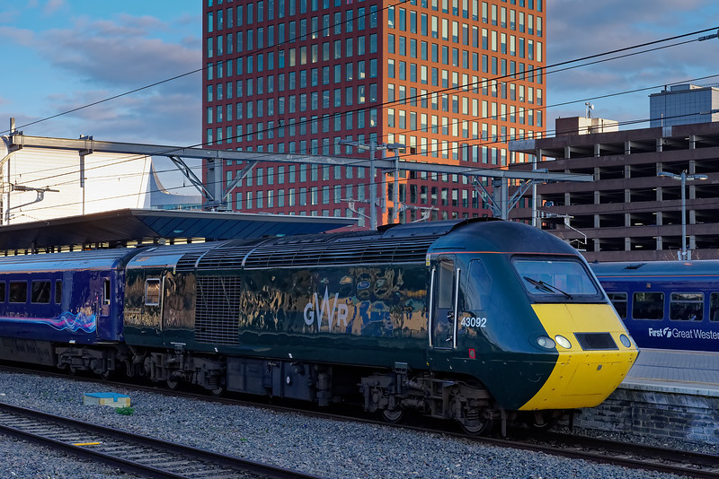 43092 departs from Reading, leading 1C90, the 17:03 Paddington - Penzance. <br /> 27th March 2019.