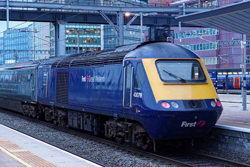 43079 departing from Reading on the rear of 1A91, the 15:00 Plymouth - Paddington. <br /> 20th March 2019.