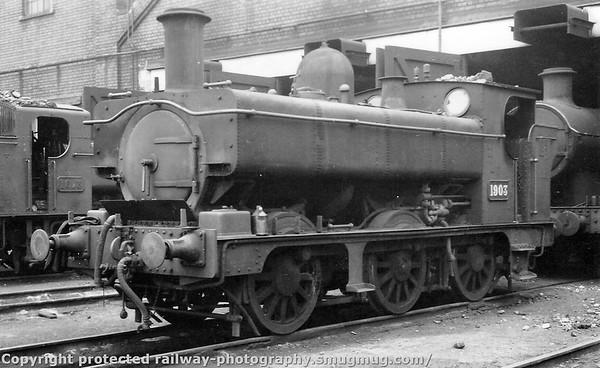 1903 Carmarthen shed 9th September 1951 Armstrong GWR 1901 Class (rebuilt as pannier tank)