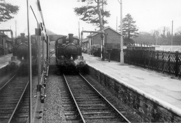 1451 Christow station with a Exeter service 21st February 1958 Collett 1400 class 0-4-2T