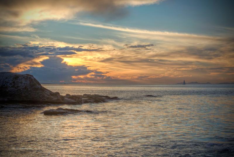 Sailboat at Sunset off Orlebar Point