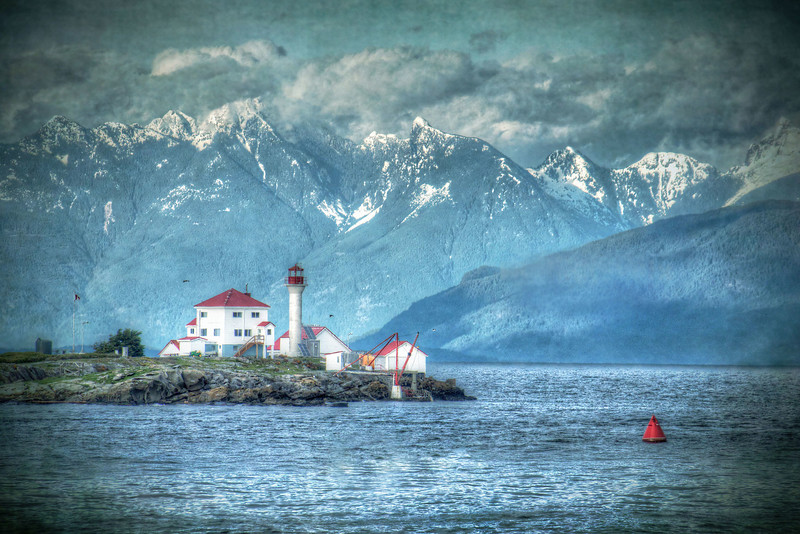Entrance Island Lighthouse w/ Snowy Mountains