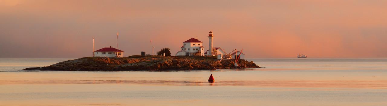 Pink Entrance Island w/ Fishing Boat Pano