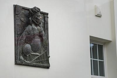 Tycho Brahe på en mur i Rostock
