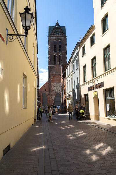 Udsigt til St  Marien Kirche   Wismar