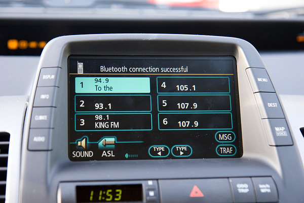 Ah, Bluetooth! The car will do hands-free calling with a paired Bluetooth phone. It took about a minute for me to pair my iPhone. Now, whenever I get in the car it recognized the phone and re-connects. Cool.