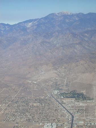 Yucca Valley and San Gorgonio Mountain.
