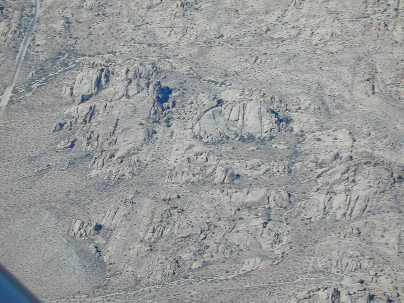 Over Joshua Tree National Park, we spotted quite a few of these interesting formations. They're tough to capture from the air, though.