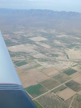 Flying over the New Mexico/Arizona border. The Chiricahua mountains are in the background.