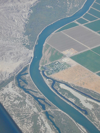 The Colorado River near Blythe. Arizona is on the left and California is on the right.