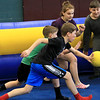 Seventh graders at Overlook Middle School learned about Gaga Ball, in their gym class, a popular game that's played at Summer Camps on Tuesday, March 5, 2019. Seventh graders in Doris Matthews gym class play Gag Ball on Tuesday. SENTINEL & ENTERPRISE/JOHN LOVE