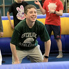 Seventh graders at Overlook Middle School learned about Gaga Ball, in their gym class, a popular game that's played at Summer Camps on Tuesday, March 5, 2019. Seventh grader Mike McCullin waits for a ball to be thrown into play during his gym class as he and his classmates play Gaga Ball on Tuesday. SENTINEL & ENTERPRISE/JOHN LOVE