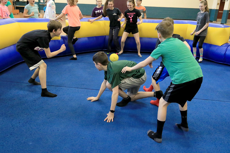 Seventh graders at Overlook Middle School learned about Gaga Ball, in their gym class, a popular game that's played at Summer Camps on Tuesday, March 5, 2019. Seventh graders play Gag Ball in Doris Matthews' gym class on Tuesday. SENTINEL & ENTERPRISE/JOHN LOVE