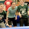 Seventh graders at Overlook Middle School learned about Gaga Ball, in their gym class, a popular game that's played at Summer Camps on Tuesday, March 5, 2019. Seventh graders Mike McCullin, Bridgett Briggs and Nate Hyland wait for a ball to be thrown into play during their gym class as they play Gaga Ball on Tuesday. SENTINEL & ENTERPRISE/JOHN LOVE