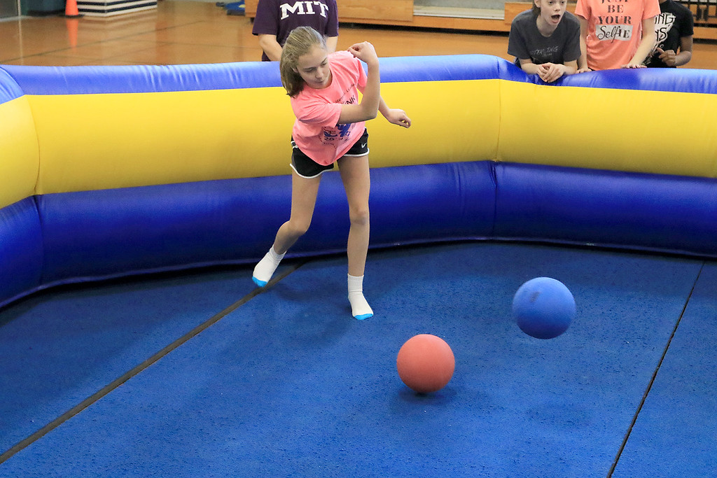 . Seventh graders at Overlook Middle School learned about Gaga Ball, in their gym class, a popular game that\'s played at Summer Camps on Tuesday, March 5, 2019. Seventh grader Olivia Souers plays Gaga Ball on Tuesday during her gym class. SENTINEL & ENTERPRISE/JOHN LOVE