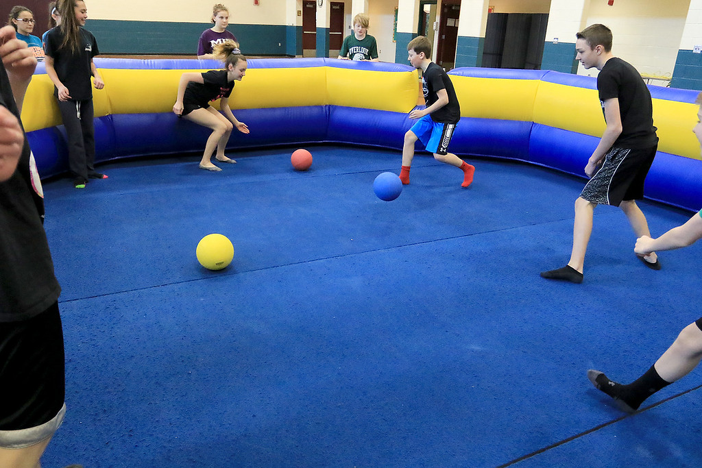 . Seventh graders at Overlook Middle School learned about Gaga Ball, in their gym class, a popular game that\'s played at Summer Camps on Tuesday, March 5, 2019. SENTINEL & ENTERPRISE/JOHN LOVE