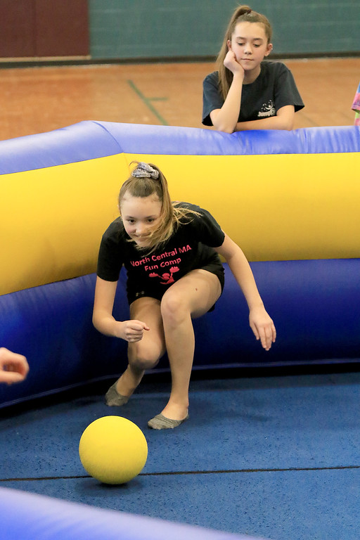 . Seventh graders at Overlook Middle School learned about Gaga Ball, in their gym class, a popular game that\'s played at Summer Camps on Tuesday, March 5, 2019. Seventh grader Delaney McKinney plays some Gaga ball with her fellow classmates in their gym class on Tuesday. SENTINEL & ENTERPRISE/JOHN LOVE