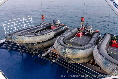 Our Zodiacs at rest on deck.