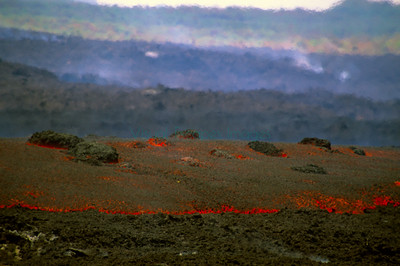 Lava flow moving with large boulders