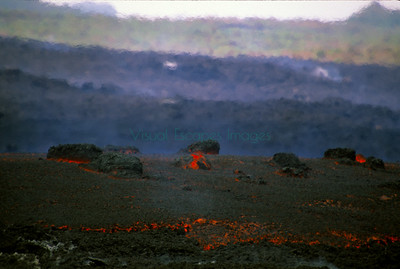 Lava with boulders slowly advancing