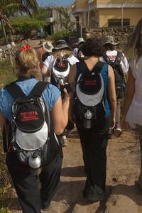US Teachers walk to GAIAS Puerto Baquerizo Moreno, San Cristobal Island, GALAPAGOS, ECUADOR