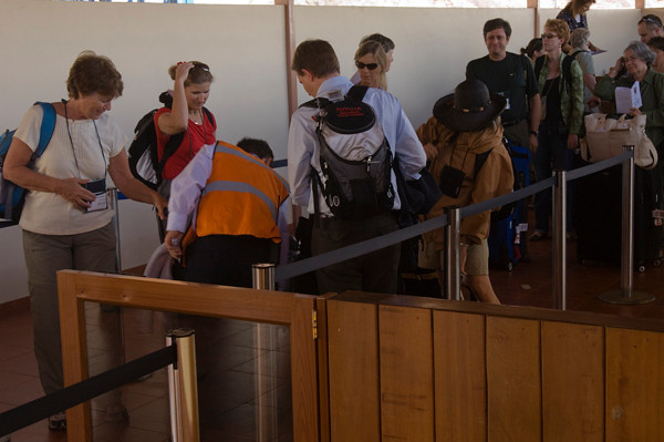 Airport arrival of US TeachersPuerto Baquerizo Moreno, San Cristobal Island, GALAPAGOS, ECUADOR