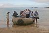 Zodiac wet landing at Floreana Island beach