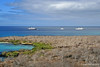 View of Celebrity Xpedition and a couple other boats/ships off Floreana Island~Galapagos, Ecuador