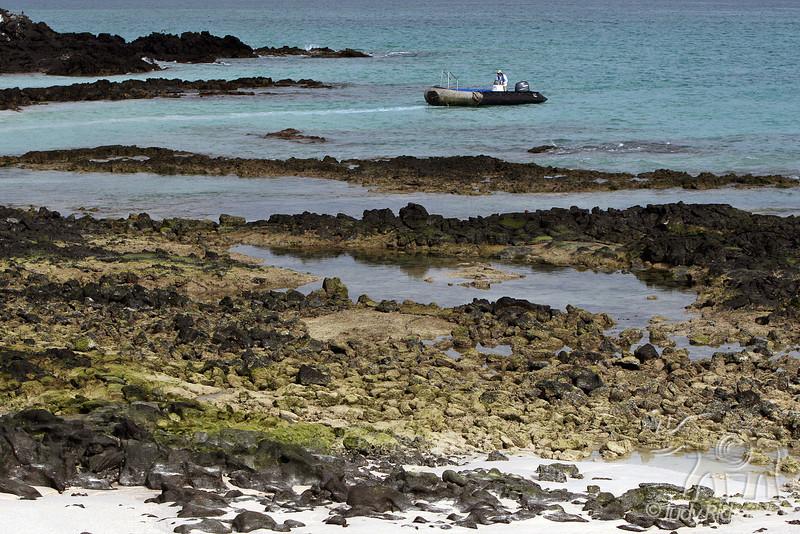 Bachas Beach with zodiac from Santa Cruz Island~Galapagos, Ecuador