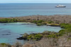 Baroness Lookout view of Celebrity Xpedition and scenic cove on Floreana Island~Galapagos, Ecuador