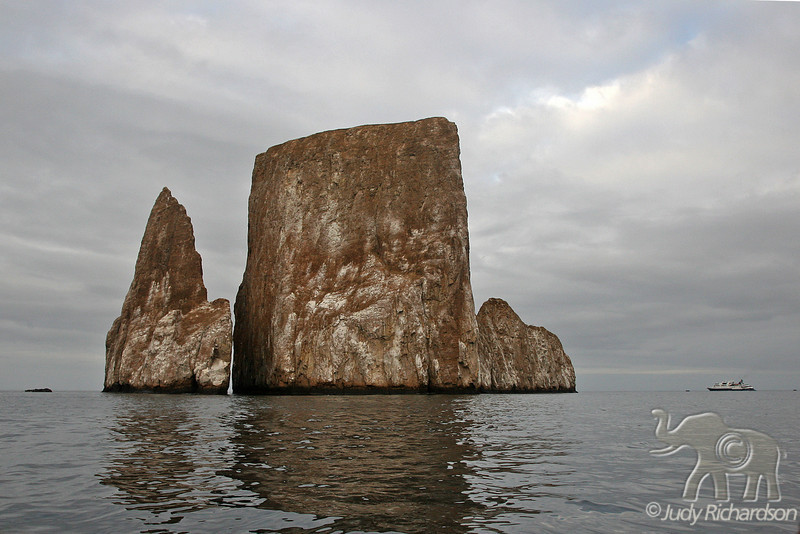 Kicker Rock with Celebrity Xpedition off to the right~Galapagos, Ecuador