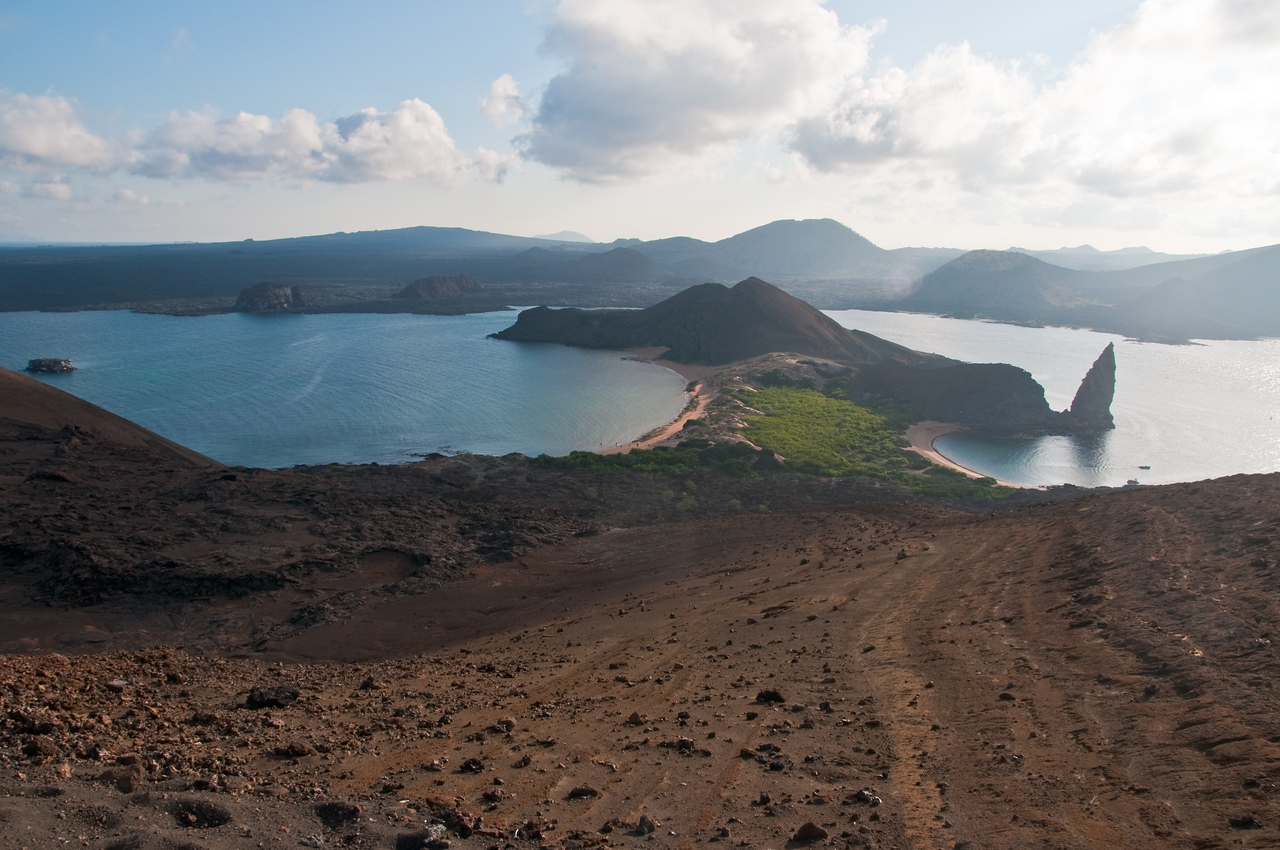 From the peak of Bartolome Island.  This is where the Maturin spots the French ship, in Master & Commander.