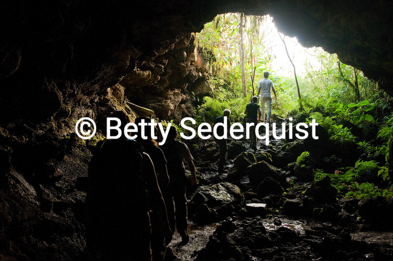 Hikers in Lava Tube, Santa Cruz Island