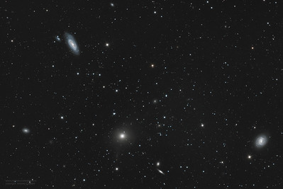 Cropped M90 58 89 with jet plus other galaxies
