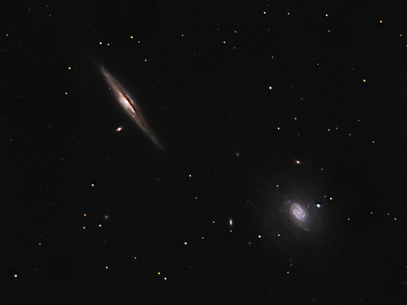 NGC 5965   &   NGC 5963  --  in Draco    Location: Gibsonia, PA   Equipment: Imaging Camera = ATIK 383L Camera  Autoguiding Camera = Atik16IC via a 500mm /f8 Mak guidescope Telescope OTA = Nexstar 11SCT @ f10 Mount = CGEM  Exposures = multiple 5 min. L + multiple10min. each RGB  Software = Maxim DL and Photoshop CS5