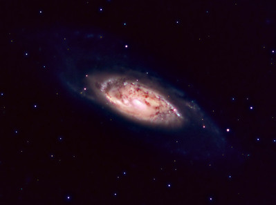 M106   Location: Washington County, PA  Equipment: QHY8 Camera via Nexstar 11 Stack of 1100 sec. exposures  Software: Maxim DL Photoshop CS5