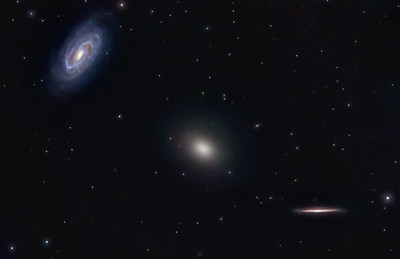 Draco Galaxy Trio   Location: Gibsonia, PA   Equipment: Imaging Camera = ATIK 383L Camera  Autoguiding Camera = Atik16IC via an OAG Telescope OTA = Nexstar 11SCT @ f10 Mount = CGEM  Exposures = multiple 5 min. each L and 10 min each RGB  Software = Maxim DL and Photoshop CS5