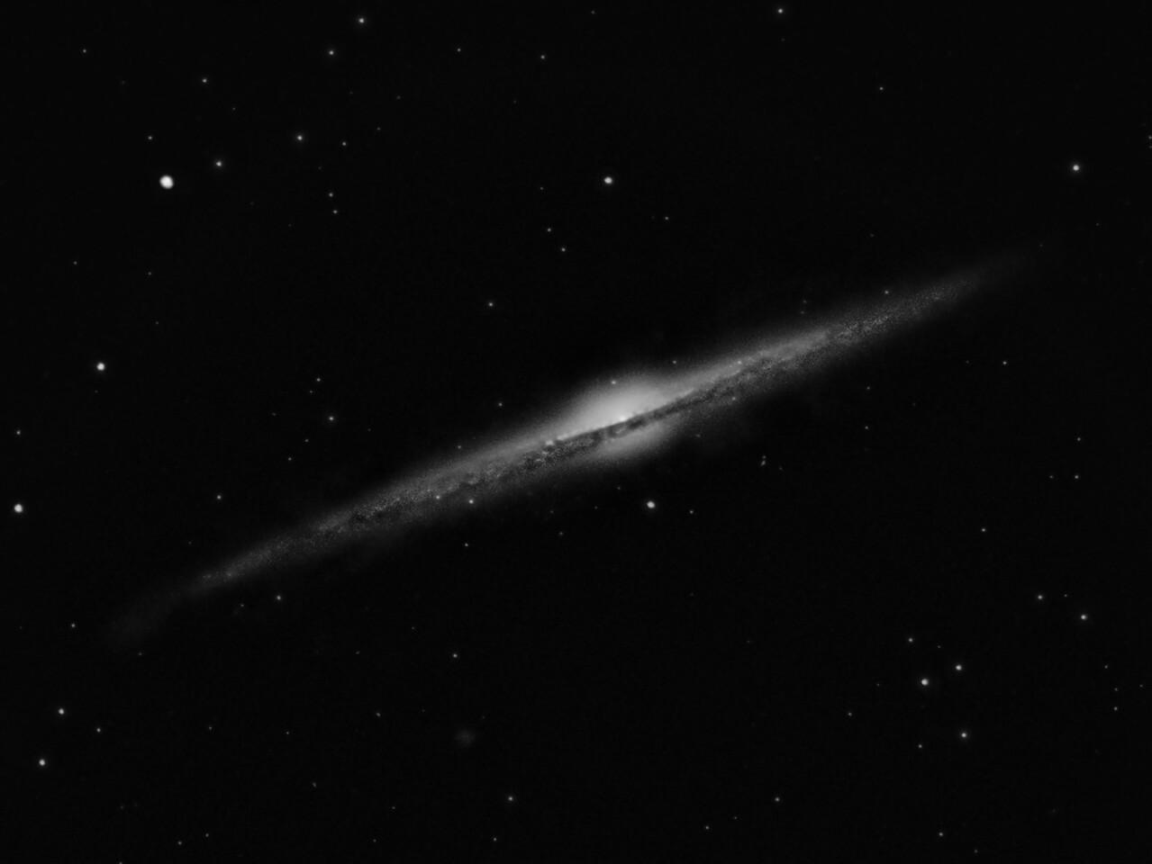 Needle Galaxy   Location: Gibsonia, PA   Equipment: ATIK 383L Camera  Nexstar 11 GPS  Multiple 300 sec. exposures with a Light Pollution Filter   Software: Maxim DL Photoshop CS5