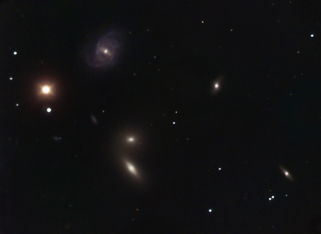 Hickson 68 Galaxy Group  --  in Canes Venatici   Location: Gibsonia, PA   Equipment: Imaging Camera = ATIK 383L Camera  Autoguiding Camera = Atik16IC via an OAG Telescope OTA = Nexstar 11SCT @ f10 Mount = CGEM  Exposures = multiple 5 min. L + multiple10min. each RGB  Software = Maxim DL and Photoshop CS5