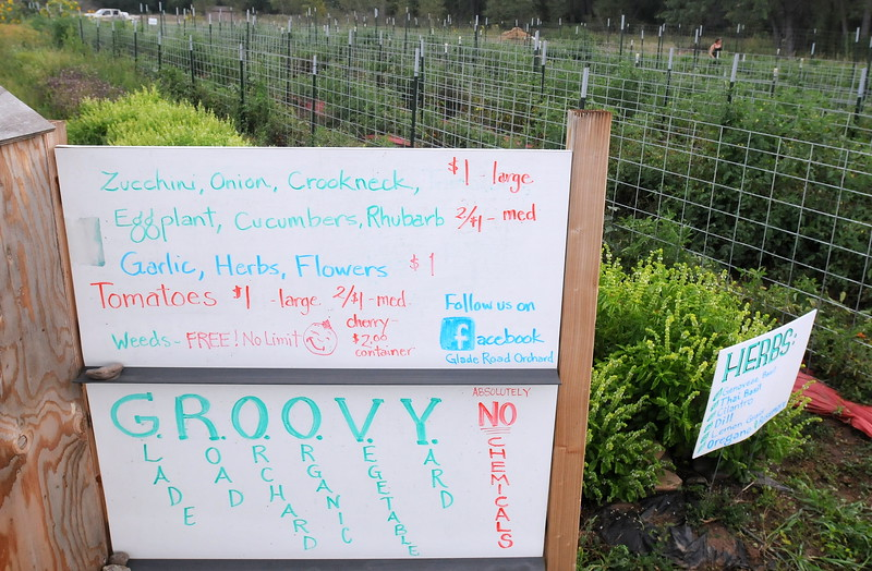 A sign displays the prices as of Wednesday, Aug. 22, 2018, at Glade Road Orchard west of Loveland.  (Photo by Craig Young / Loveland Reporter-Herald)