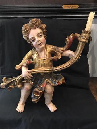 Polychromed wood candle holder Angel  - detail