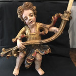 Polychromed wood candle holder Angel  - detail