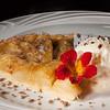 Apple pie with vanilla ice cream and crumble