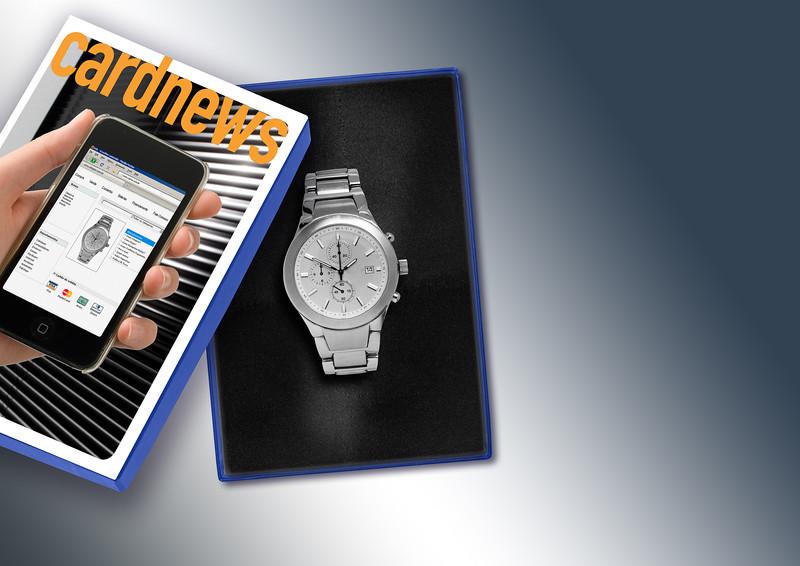 Fusão de imagens de relógio, caixa e revista