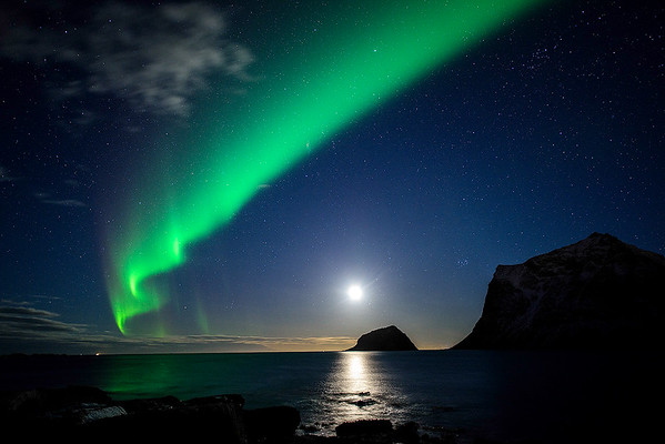 Aurora over Haukland Beach
