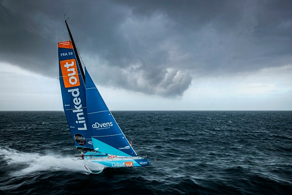 OFF Groix  - October 6: French skippers Thomas Ruyant, sailing on the Imoca LinkedOut, training prior for the vendee globe, on October 6, 2020, off Groix, South Brittany, France - Photo Pierre Bouras / TR Racing