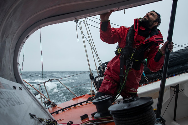 OFF Groix  - October 12: French skipper Alan Roura, sailing on the Imoca La Fabrique, training prior for the vendee globe, on October 12, 2020, off Groix, South Brittany, France - Photo Pierre Bouras / La Fabrique